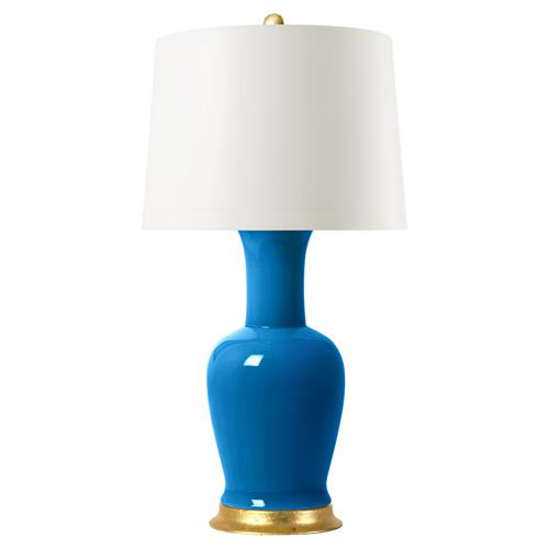 Hadley Modern Gold Leaf Blue Porcelain Paper Table Lamp | Kathy Kuo Home