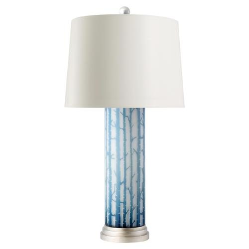 Everest Modern Blue Birch Layered Glass Cylinder Paper Table Lamp | Kathy Kuo Home