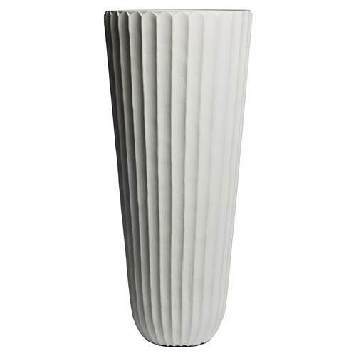 Kinsley Modern Classic Tall White Ribbed Vase 18H