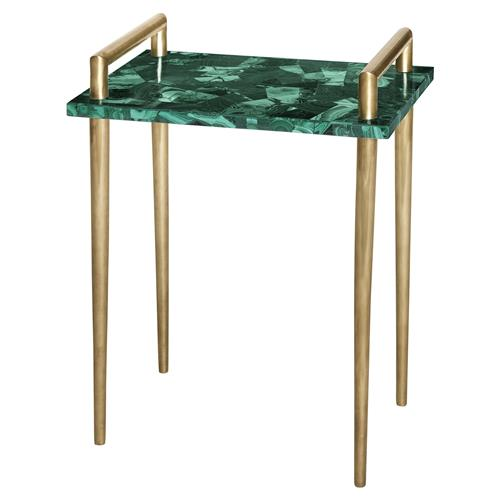 Vivien Hollywood Brass Handle Green Malachite Side End Table | Kathy Kuo Home