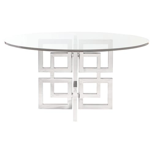 Mercer Round Glass Stainless Steel Dining Table Kathy