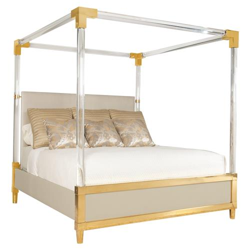 Phebe Regency Brass Acrylic Ivory Upholstered Canopy Bed - King | Kathy Kuo Home