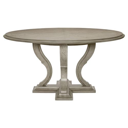 Round Kitchen Tables: Michaela French Country White Oak Veneer Walnut Round