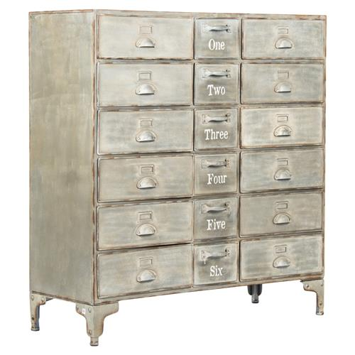 Rhine Industrial Loft Grey Wash 18-Drawer Numbered Metal Cabinet | Kathy Kuo Home