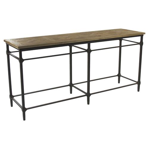 Amandine French Country Teak Wood Metal Framework Console Table | Kathy Kuo Home