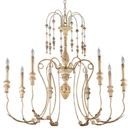Maison French Country Antique White 8 Light Chandelier | Kathy Kuo Home