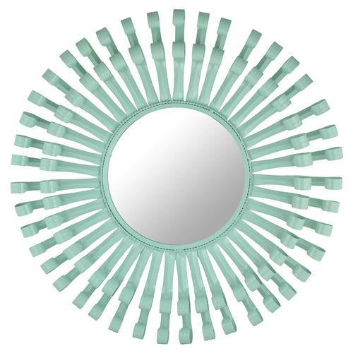 Garon Modern Mint Green Lacquer Swirl Round Mirror | Kathy Kuo Home
