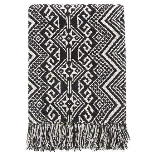 Kenton Global Bazaar Black Tribal Woven Blanket | Kathy Kuo Home