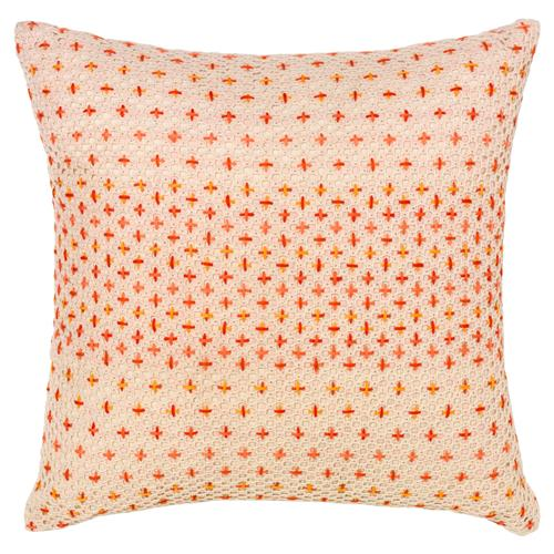 Felipa modern coral cross stitch pillow 18x18 kathy for Modern house 18x18