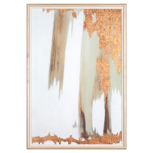 No. 4 Texture Copper Leaf Abstract Painting - Maple Frame | Kathy Kuo Home