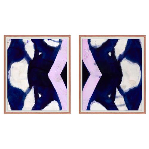 Navy Blue Purple Abstract Diptych - Walnut Frame | Kathy Kuo Home