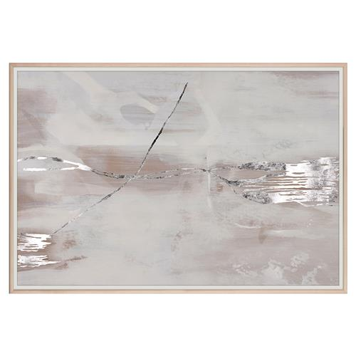 Hazy Modern Abstract Mauve Grey Silver Painting - Maple Frame | Kathy Kuo Home