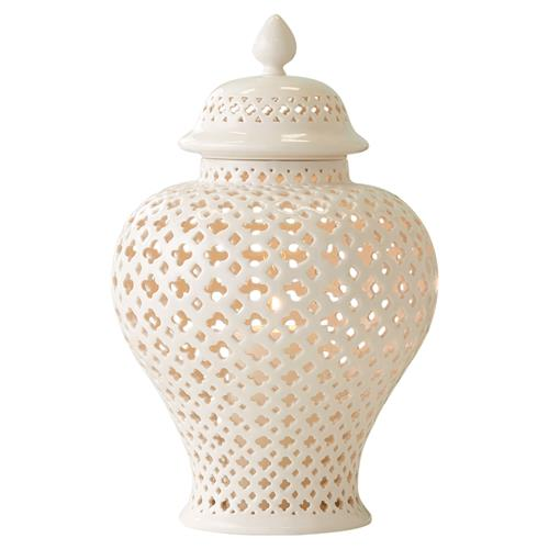 Modern Ivory Porcelain Cut Out Covered Candle Lantern - 8D | Kathy Kuo Home