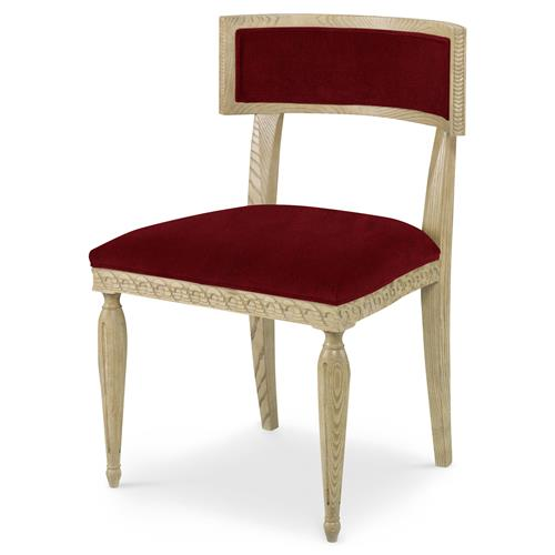 Mr. Brown Delphi Coastal Grey Ash Red Velvet Side Chair | Kathy Kuo Home