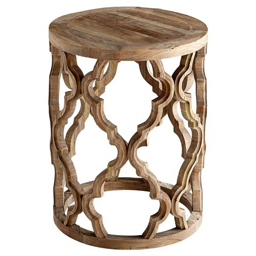 Hiru Rustic Lodge Wood Medallion End Table | Kathy Kuo Home