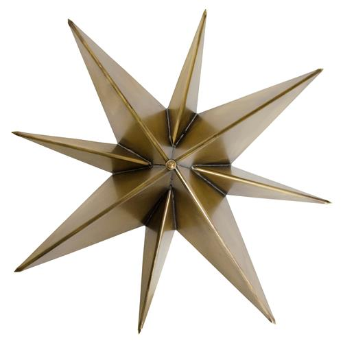 Leonis Industrial Loft Gold Antique Brass Metal Star Sconce | Kathy Kuo Home