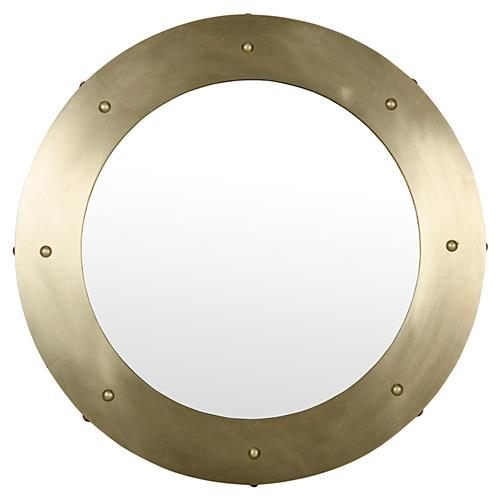 Noir Clay Modern Antique Bras Round Metal Wall Mirror - 36D | Kathy Kuo Home