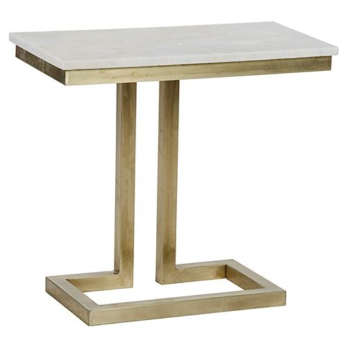 Noir Alonzo Modern Antique Brass White Quartz Side Table | Kathy Kuo Home
