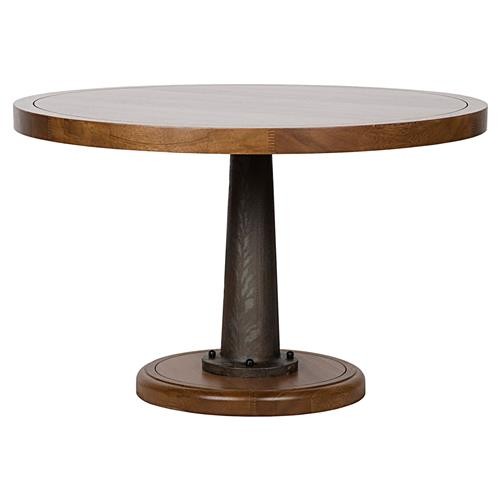 Noir Yacht Industrial Walnut Cast Metal Pedestal Dining Table | Kathy Kuo Home