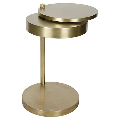 Aston modern antique brass revolving circular discs side for Revolving end table