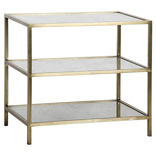 Noir Modern 3-Tier Antique Glass Brass Metal Side Table | Kathy Kuo Home