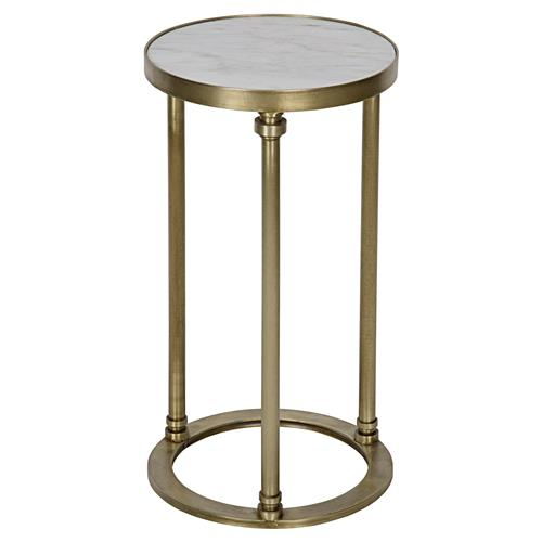 Margot Modern White Stone Antique Brass Round Side Table