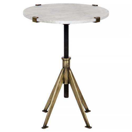 Noir Edith Modern White Quartz Brass Adjustable Height Small Side Table | Kathy Kuo Home