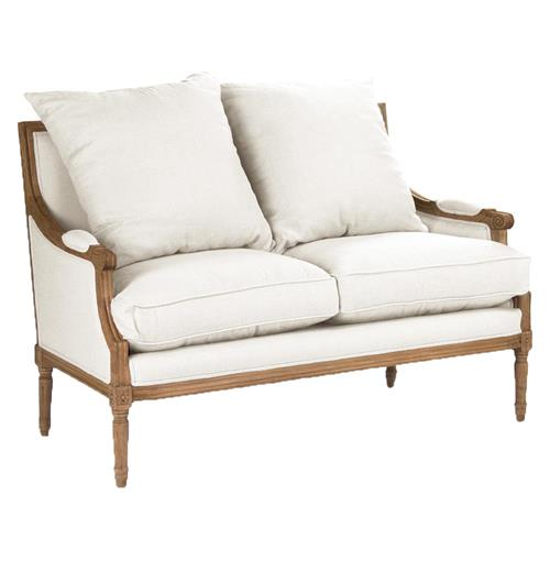 St. Germain French Country Natural Oak Louis XVI White Settee | Kathy Kuo Home