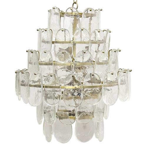 Noir Mystic Coastal Antique Brass Oval Glass Plates Chandelier | Kathy Kuo Home