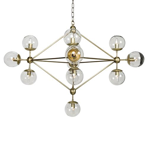 Noir Pluto Mid Century Antique Brass Metal Constellation Orb Chandelier | Kathy Kuo Home