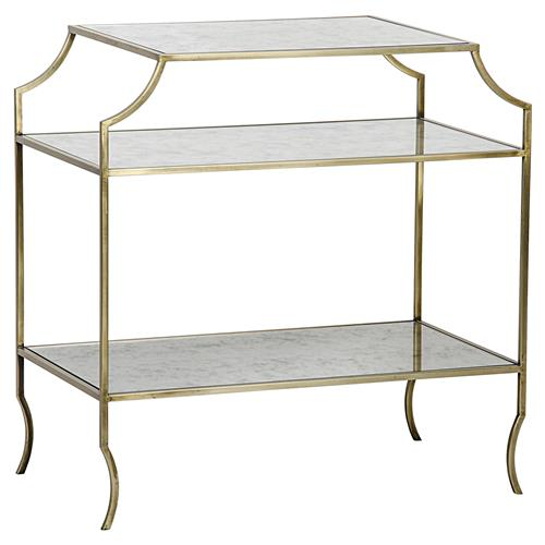 Noir Forli Modern Gold Antique Mirror Shelf 3-Tier Side Table | Kathy Kuo Home