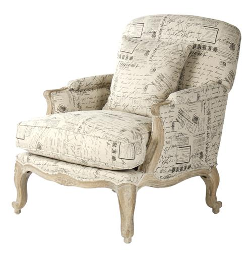 French Country Literary Script Linen Club Chair | Kathy Kuo Home