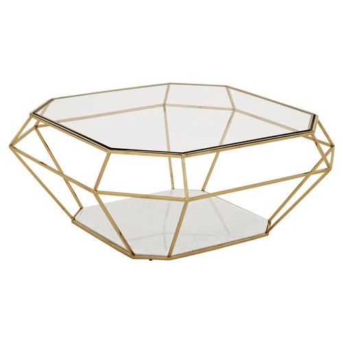 Eichholtz Adler Hollywood Regency Glass Gold Diamond Frame Coffee Table | Kathy Kuo Home