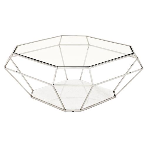 Eichholtz Adler Hollywood Regency Glass Silver Diamond Frame Coffee Table | Kathy Kuo Home