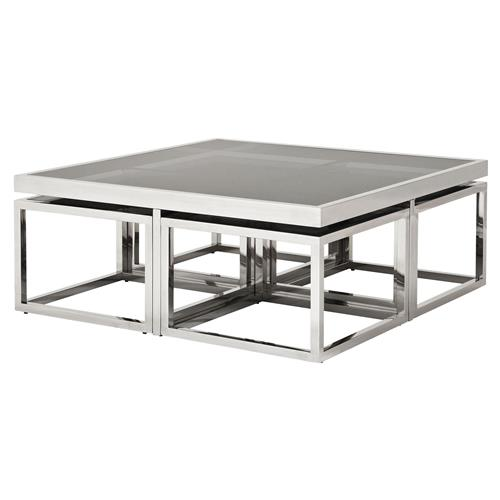 Eichholtz Brubeck Hollywood Silver Black Glass 5-Piece Square Coffee Table | Kathy Kuo Home