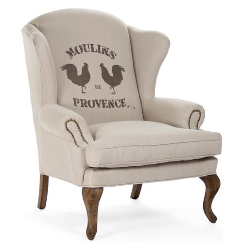 Zacharie Moulins French Country Nail Head Wing Chair | Kathy Kuo Home