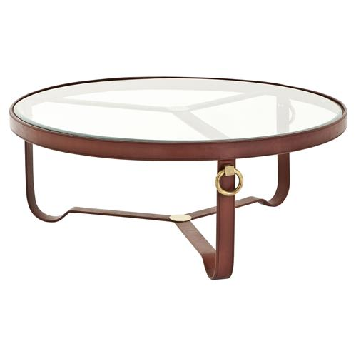 Eichholtz Lorain Rustic Sienna Brown Leather Gold Round Glass Coffee Table | Kathy Kuo Home