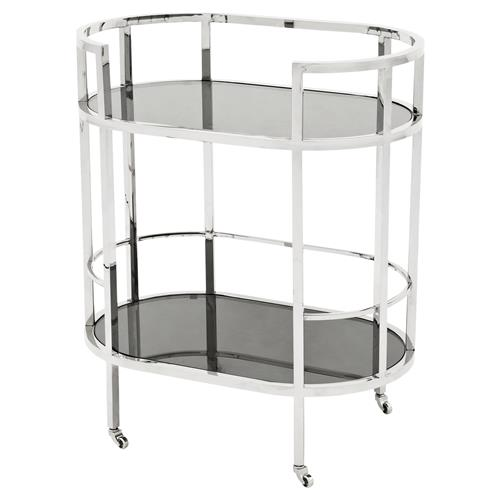 Eichholtz Carr Hollywood Regency Silver Frame 2-Tier Black Glass Bar Cart | Kathy Kuo Home