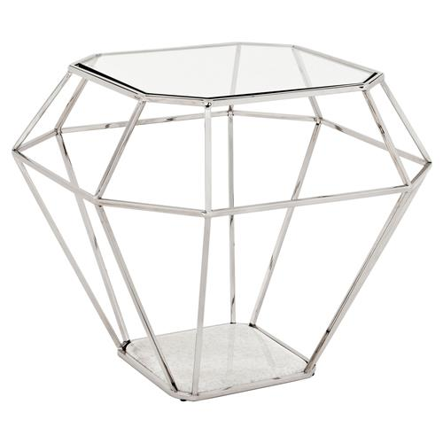 Eichholtz Adler Hollywood Nickel Frame Diamond Shape Glass Side Table | Kathy Kuo Home
