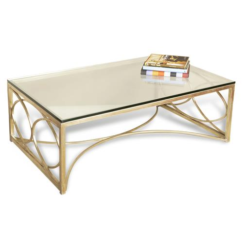 Antique Silver Glass Coffee Table: Mackenzie Antique Champagne Silver Coffee Table