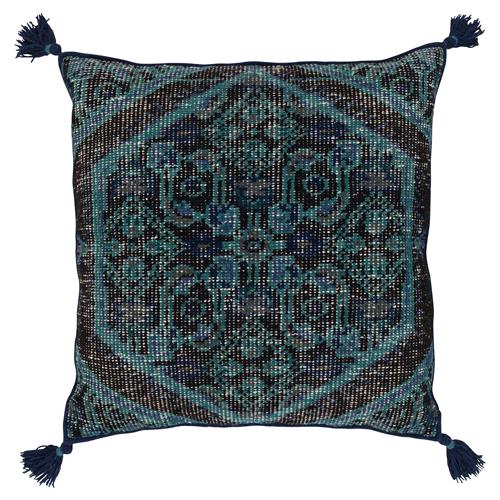 Floor Pillows Navy : Quira Global Tassel Black Navy Floor Pillow - 30x30 Kathy Kuo Home