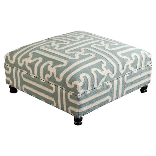 Adam Rustic Global Sage Green Wool Ottoman | Kathy Kuo Home