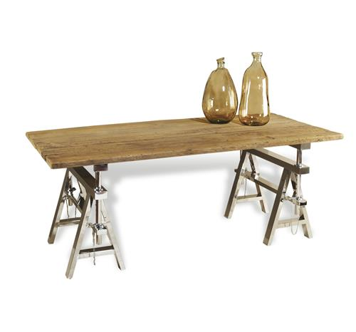 Hatcher Modern Rustic Reclaimed Wood Polished Silver Sawhorse Table | Kathy Kuo Home