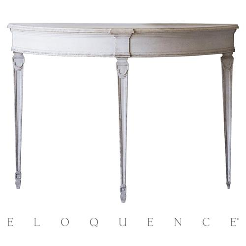 Eloquence Sophia Magdalena Demi Lune Console in Gustavian Grey | Kathy Kuo Home
