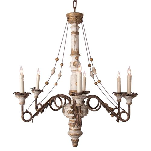 Agathe French Antique Metal Cream Chained 6-Light Chandelier | Kathy Kuo Home