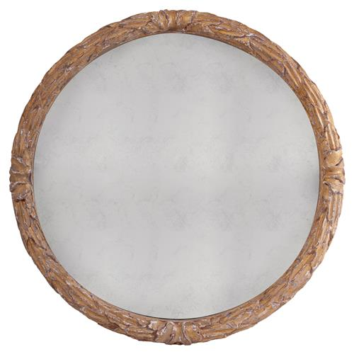 Cyprien French Country Gold Floral Engraved Round Wall Mirror - 40D | Kathy Kuo Home