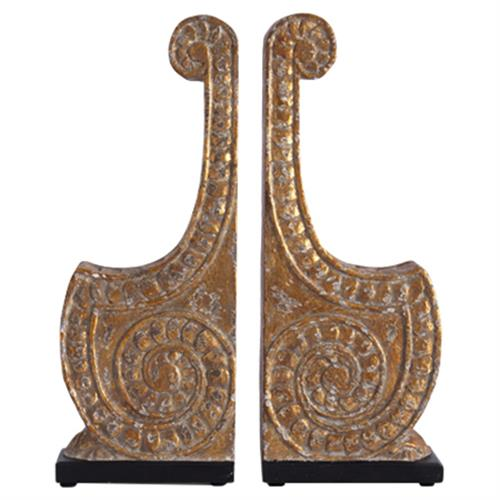 Elli Global Bazaar Antique Gold Carved Bookends - Pair | Kathy Kuo Home