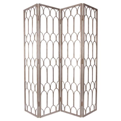 Ebele Global Silver Mountain Pattern Folding Floor Screen | Kathy Kuo Home