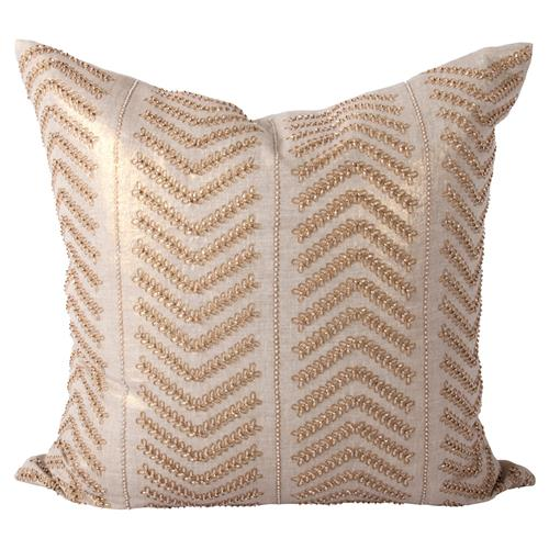 Cahaya Global Gold Embroidered Beaded Decorative Pillow - 24x24 | Kathy Kuo Home