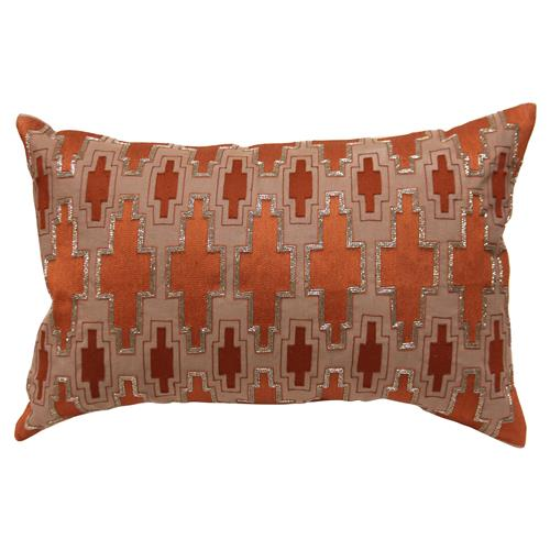 Cahya Global Bazaar Orange Silver Beaded Decorative Pillow 16x24